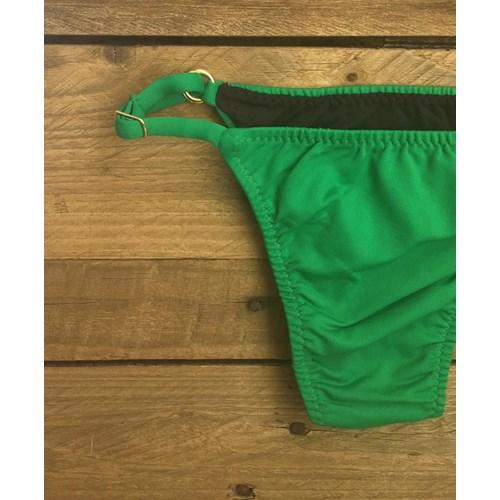 Calcinha Dupla Face Fio Inteira Verde Bandeira/Preto