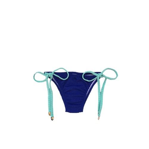 Calcinha Dupla Face Fio Lacinho Azul Royal/Turquesa Canelado
