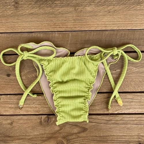 Calcinha Frufru Verde Limão Canelado