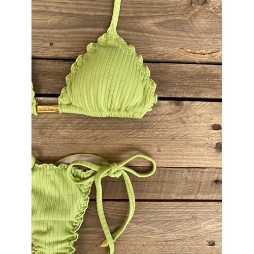 Calcinha Semi Fio Verde Limão Canelado