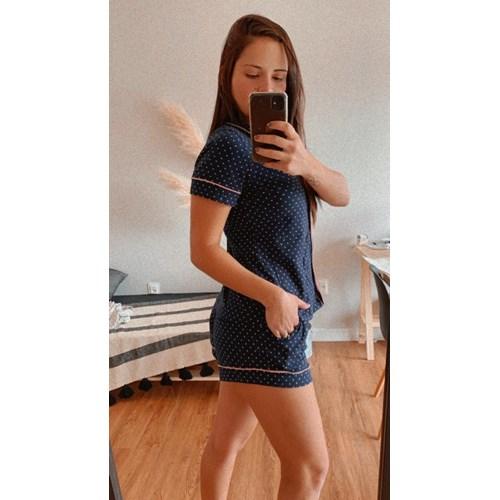 Pijama Lola Poá Azul Marinho