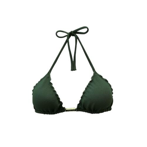 Top Cortininha Frufru Verde Militar textura