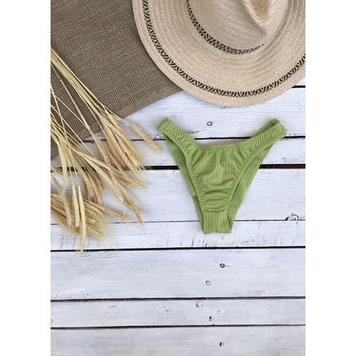 (Última P) _Calcinha Asa Delta Verde Limão Canelado